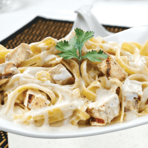 Our Ready to Eat Chicken Fettuccine Alfredo at Al Safa Foods is made with parmesan cheese and grilled chicken tossed with pasta in a rich Alfredo sauce.